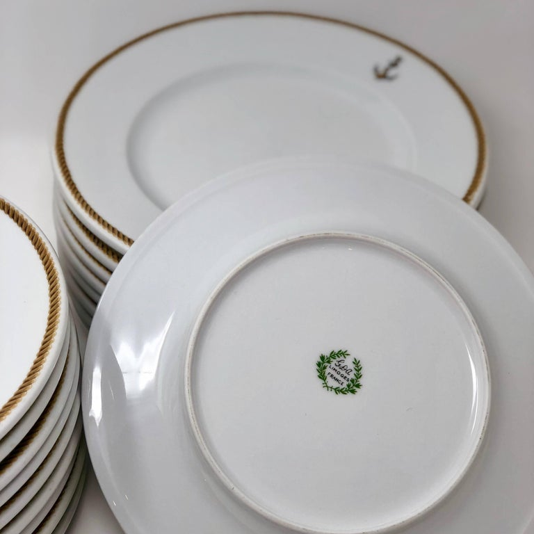 International Style 1940 GDA Limoges Plates Set, Gold and Black Rim with an Anchor Shield, France For Sale