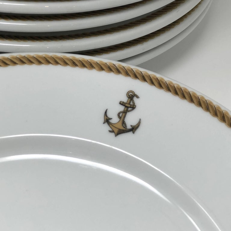 French 1940 GDA Limoges Plates Set, Gold and Black Rim with an Anchor Shield, France For Sale