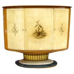 1940 Italian Antique Cream Parchment Cabinet/Bar with Bird's-Eye Maple Interior