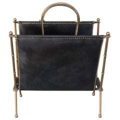 1940 Jacques Adnet Magazine Stand in Brass and Stitched Leather
