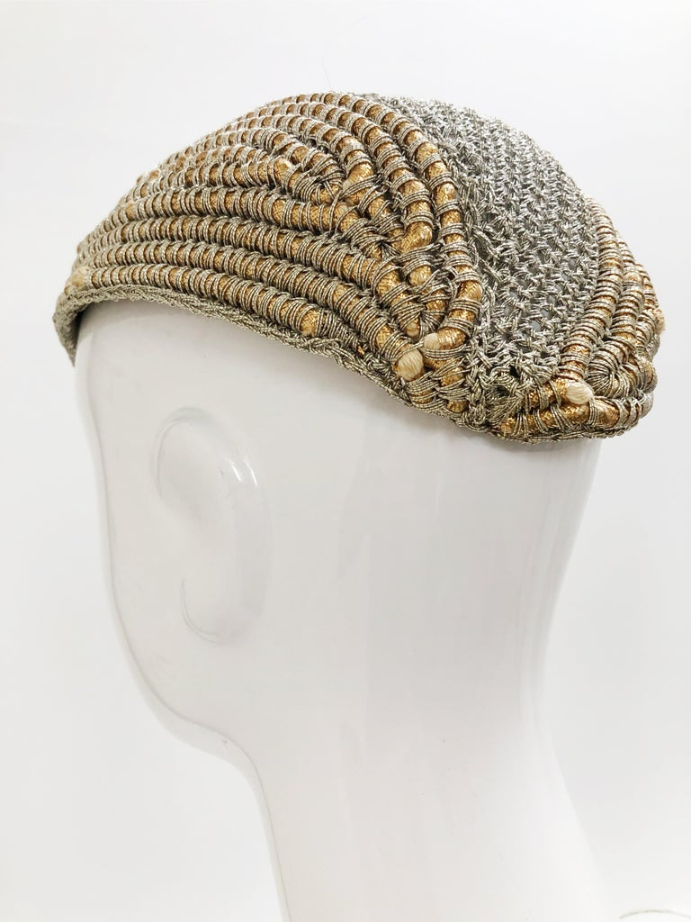 1940s John Frederics custom designed crochet metallic silver and gold cord hat with openwork at crown. This close fitting evening hat is quite unusual! Size Medium.