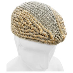 1940 John Frederics Custom Design Woven Silver & Gold Metallic Evening Hat