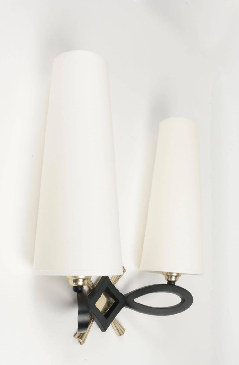 1940 Pair of Wall Lights by Marcel Guillemard In Excellent Condition For Sale In Saint-Ouen, FR