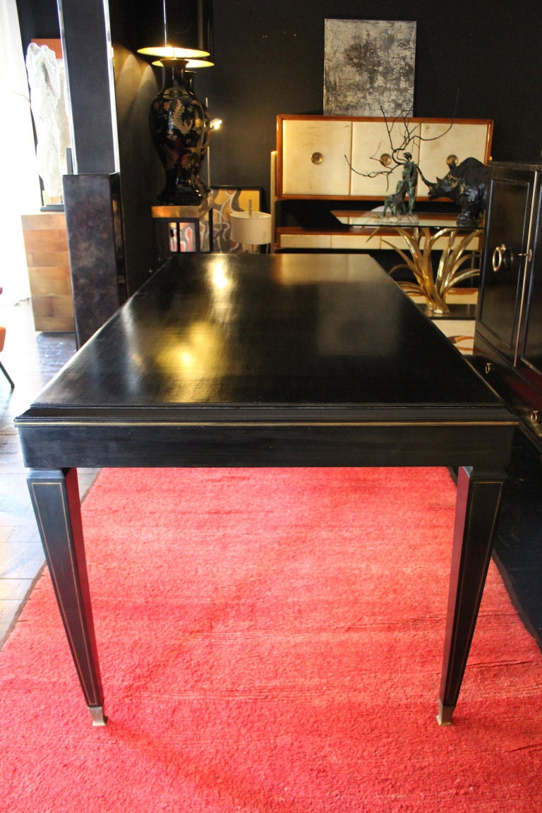 1940 rectangular writing desk or 4 dining table in Napoleon III style with brass finishes.