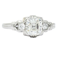 1940 Retro 1.35 Carat Asscher Diamond Platinum Engagement Ring