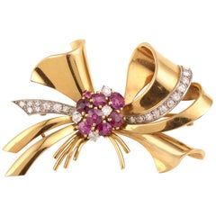 1940 Ribbon Bow Rubies Diamonds Brooch