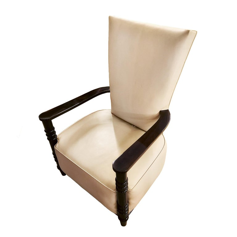 Mid-20th Century 1940´s Art Deco Style Armchair, High Back, Leather, Wood, France For Sale