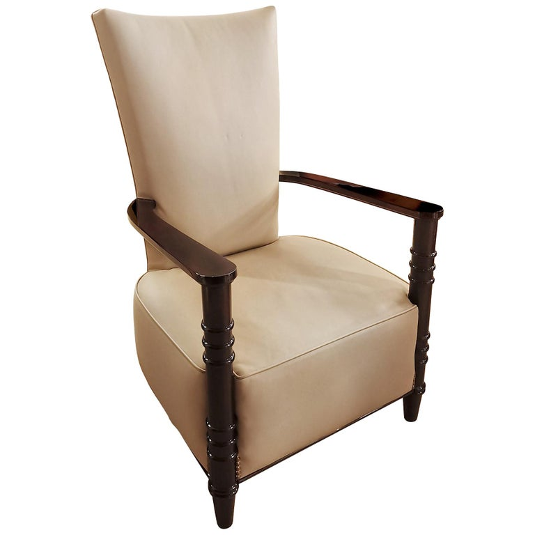 1940´s Art Deco Style Armchair, High Back, Leather, Wood, France For Sale