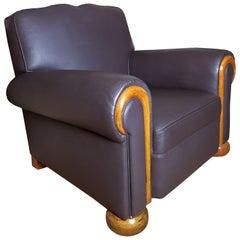 "1940s Big ""Club"" Armchair, Wood and Chocolate Leather, Belgium"