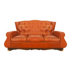 1940s Chesterfield Style Couch, with Its Original Sheepskin Upholstery, France