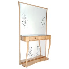1940s Entrance Console Mirror in Ash, Italy