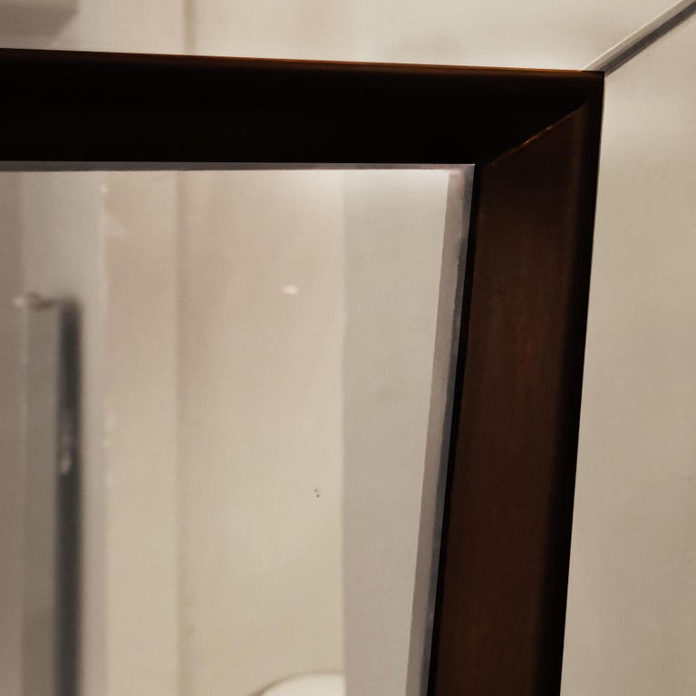 1940s Large Etched Mirror, Waxed Wood Frame and Moldings, Italy For Sale 4