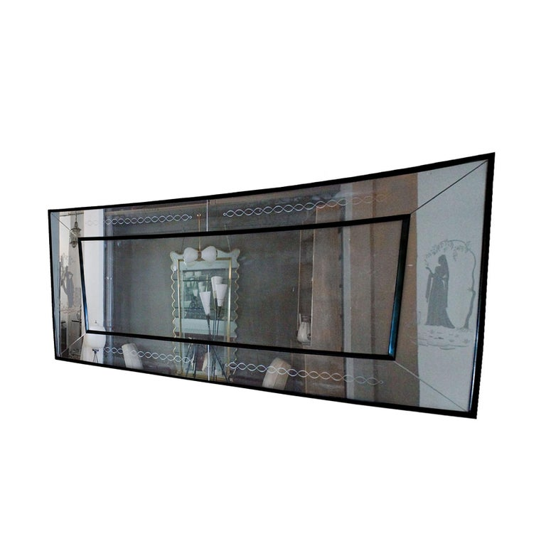 Mid-Century Modern 1940s Large Etched Mirror, Waxed Wood Frame and Moldings, Italy For Sale
