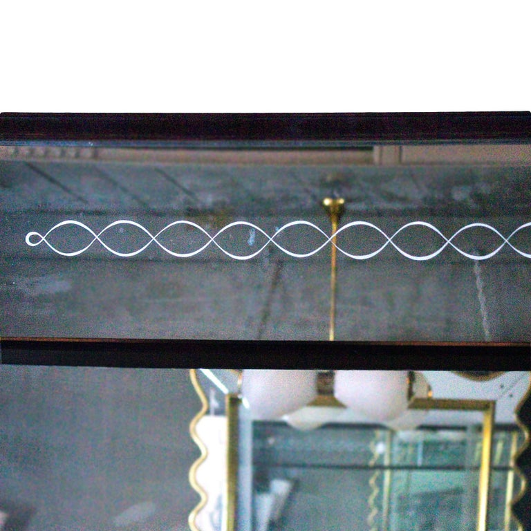 Italian 1940s Large Etched Mirror, Waxed Wood Frame and Moldings, Italy For Sale