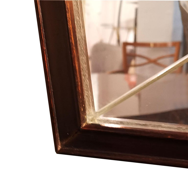 1940s Large Etched Mirror, Waxed Wood Frame and Moldings, Italy For Sale 3