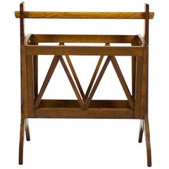 1940s Magazine Rack, Solid Oak, French Polish, France