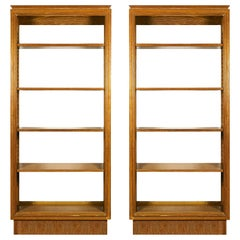 1940s Pair of Bookcases, Cerused Oak, Removable Shelves, France