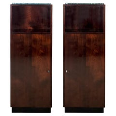 1940´s Pair of Cabinets, Flamed Mahogany, Drawers, Shelves, Marble, France