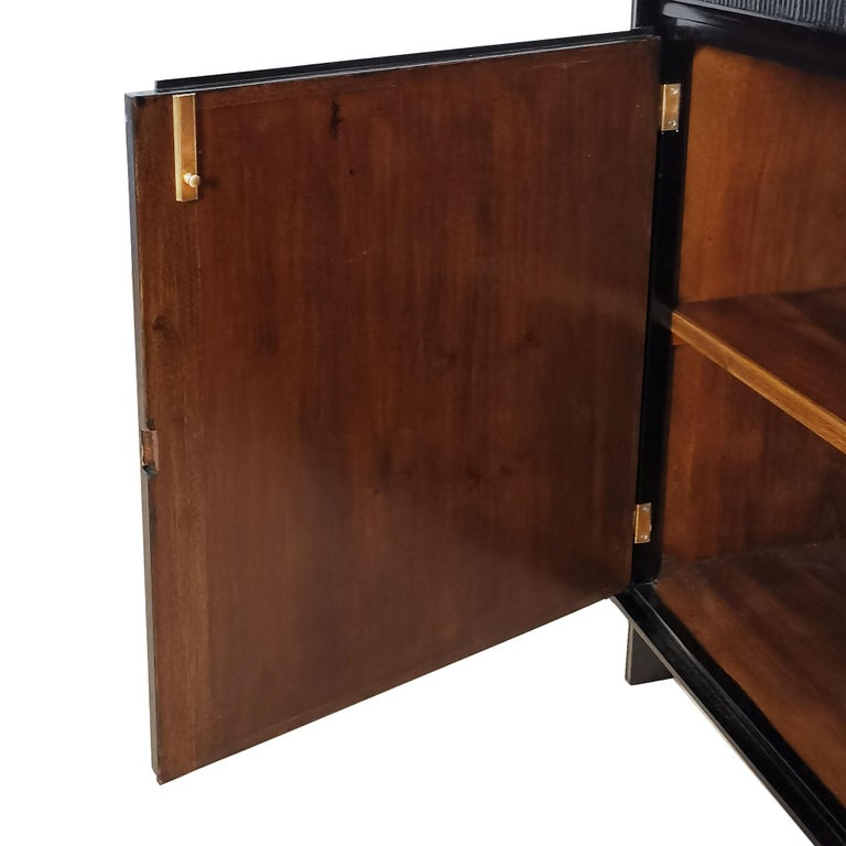 Brass 1940's Pair of Cabinets with Four Doors,