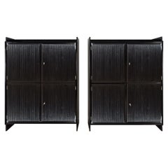 """1940's Pair of Cabinets with Four Doors, """"Grissinis"""" Decoration, Walnut, Italy"""