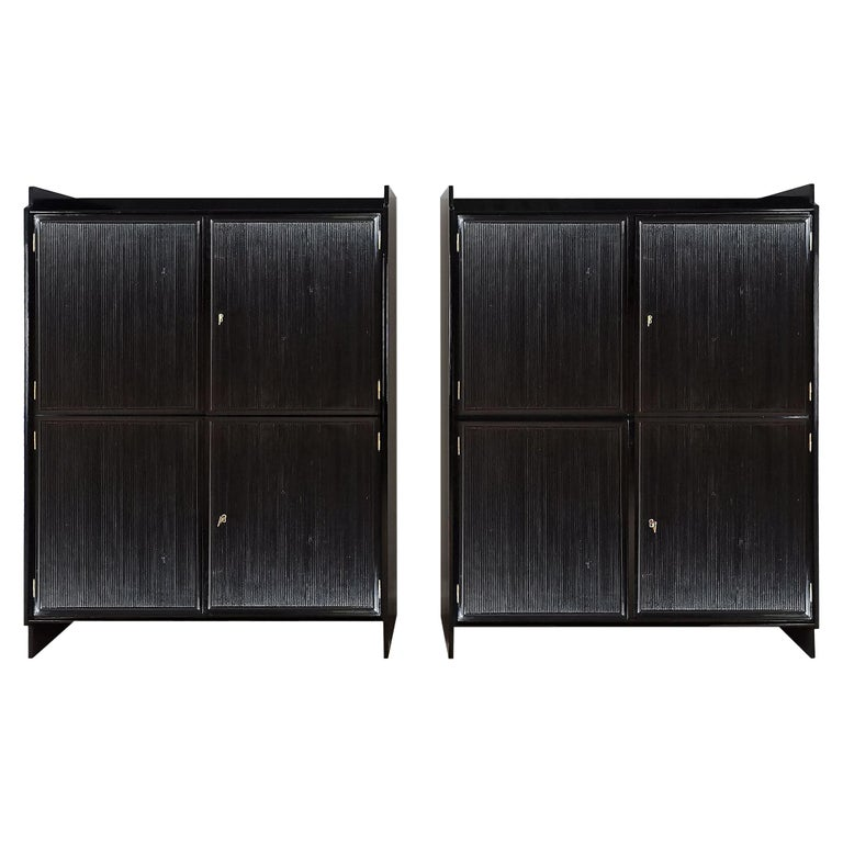 """1940's Pair of Cabinets with Four Doors, """"Grissinis"""" Decoration, Walnut, Italy For Sale"""