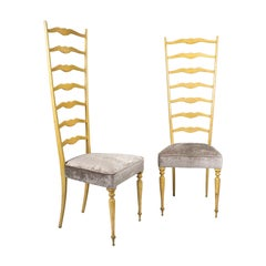 """1940s Pair of """"Chiavarine"""" Chairs, Solid Maple, Taupe Velvet, Italy"""