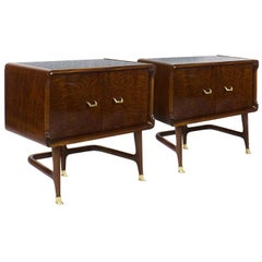 1940s Pair of Tripod Night Stands, Mahogany and Mahogany Burl Veneer, Italy