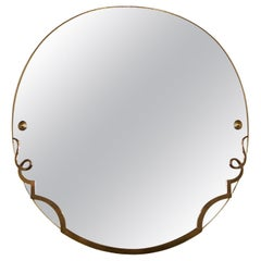 1940s Round Mirror, Wood and Patinated Bronze Half Frame, France