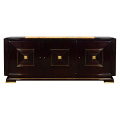 1940s Sideboard in the Style of Maxime Old, Mahogany, Brass, France
