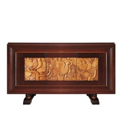 1940's Sideboard with Three Doors, Bubinga Wood, Carved Maple, Bronze, France