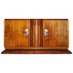 1940´s Sideboard with two doors and drawer, walnut veneer, brass - France
