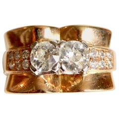 1940 Tank Ring in 18 Carat Yellow Gold with Diamonds