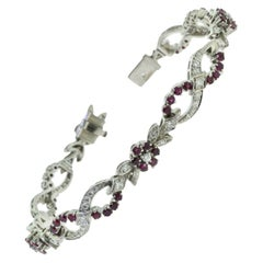 1940 Tiffany & Co. Diamond and Ruby Floral Bracelet in Platinum, Vintage