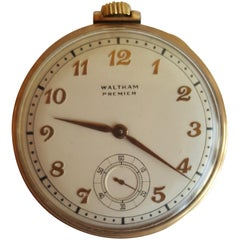 1940 Vintage Waltham Premier Pocket Watch, Working, 17 Jewels, 10 Karat