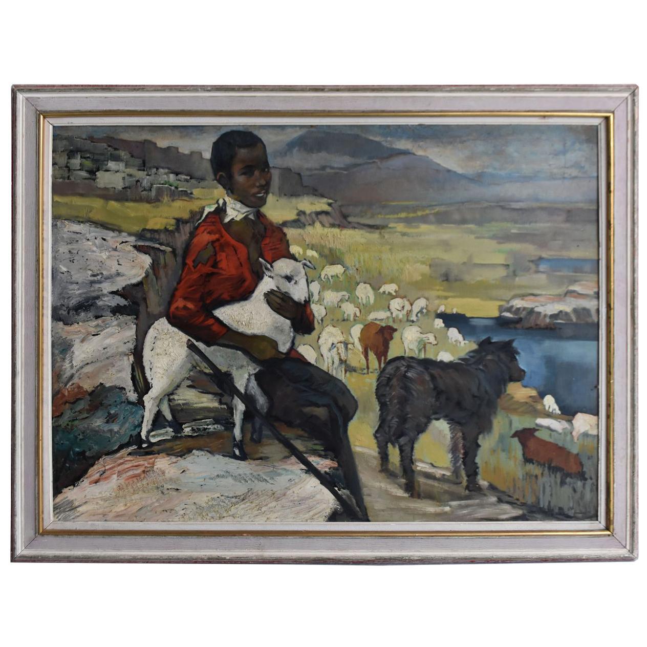 "1940 ""Young Shepherdess Orientalist"" Oil On Masonite"