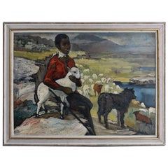 "1940 ""Young Shepherdess Orientalist"" Oil On Masonite"