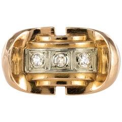 1940s 0.12 Carat Diamond 18 Karat Yellow Gold Tank Ring