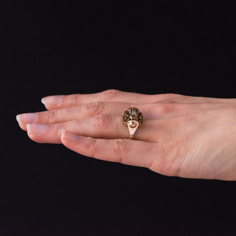 1940s 0.20 Carat Diamond Yellow Gold Retro Ring For Sale 6