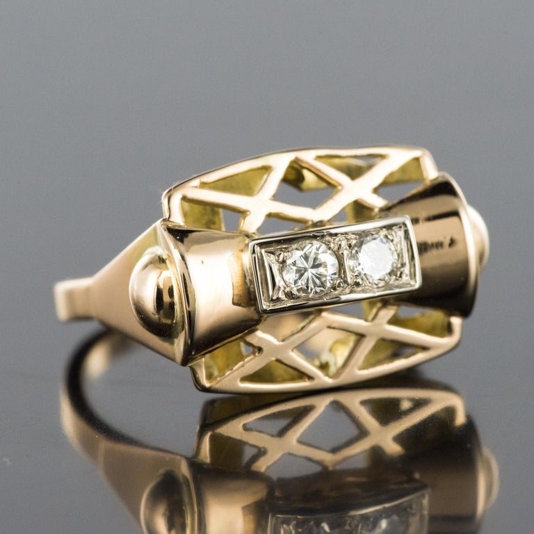 1940s 0.20 Carat Diamond Yellow Gold Retro Ring For Sale 7