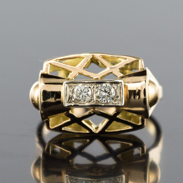 1940s 0.20 Carat Diamond Yellow Gold Retro Ring For Sale 8
