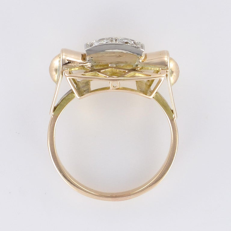 1940s 0.20 Carat Diamond Yellow Gold Retro Ring For Sale 9
