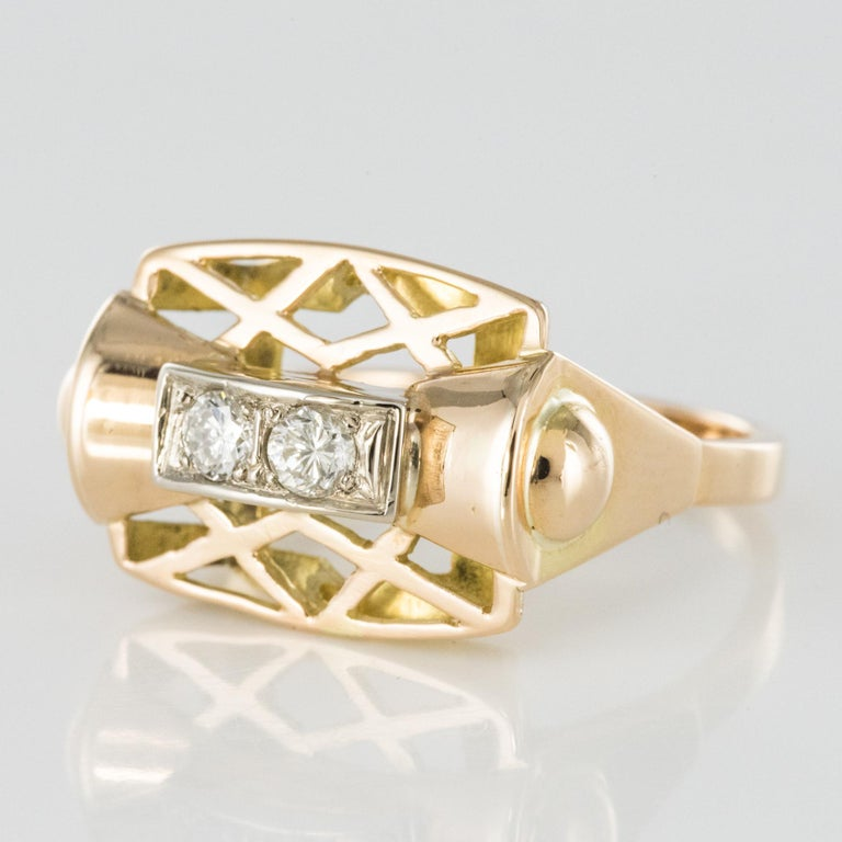 1940s 0.20 Carat Diamond Yellow Gold Retro Ring In Good Condition For Sale In Poitiers, FR