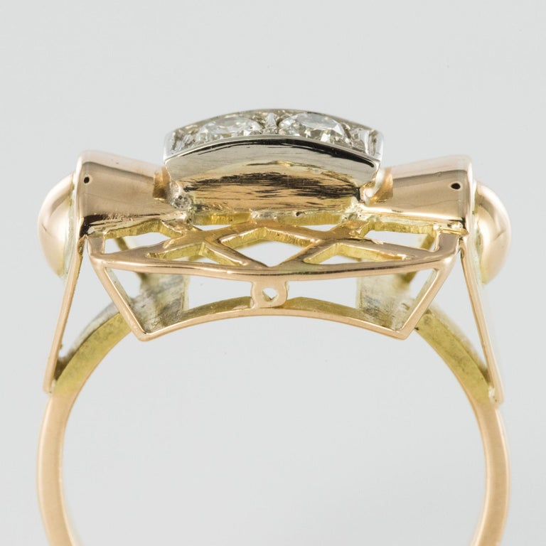 1940s 0.20 Carat Diamond Yellow Gold Retro Ring For Sale 1