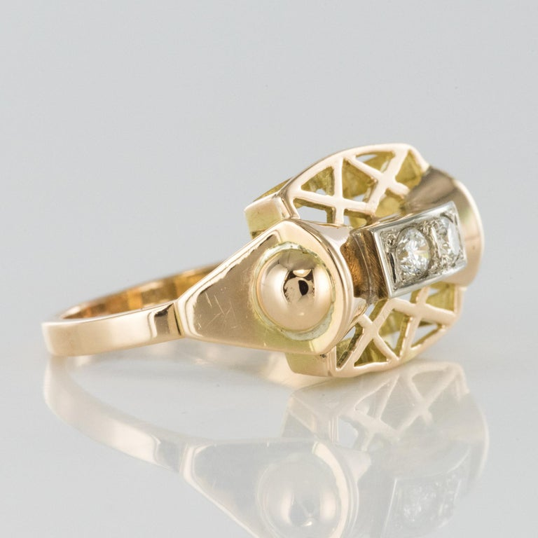 1940s 0.20 Carat Diamond Yellow Gold Retro Ring For Sale 4