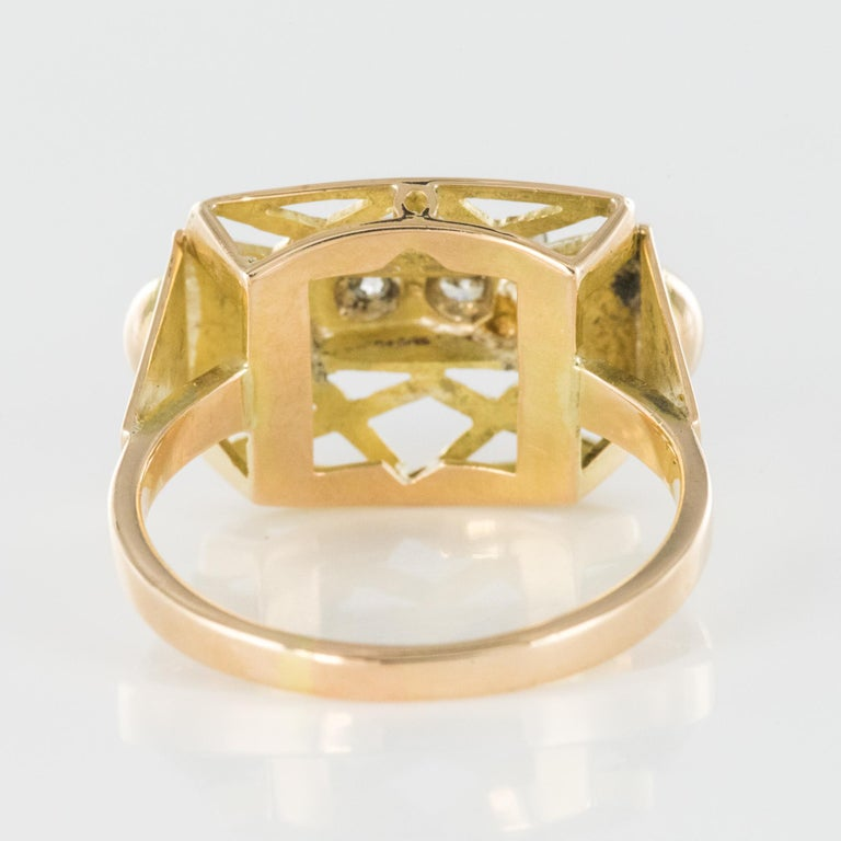 1940s 0.20 Carat Diamond Yellow Gold Retro Ring For Sale 5