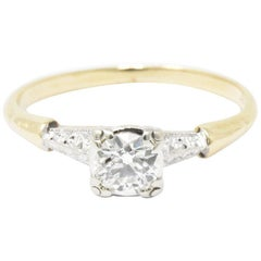 Retro 0.40 CTW Old European Cut Diamond Platinum 14 Karat Gold Engagement Ring