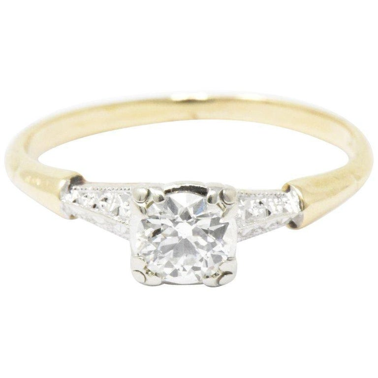 3e203e8200a9 1940s 0.40 Carat Diamond 14 Karat Gold and Platinum Engagement Ring For Sale
