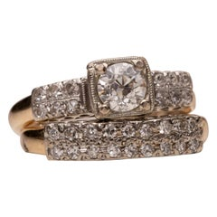 1940s 0.80 Carat Old European & Single Cut Diamond Retro Yellow Gold Wedding Set