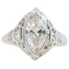 1940s 1 Carat Marquise Diamond Solitaire and 18 Karat White Gold Filigree Ring