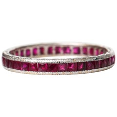 1940s 1 Carat Ruby Eternity Band in 18 Karat White Gold